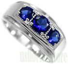 Three Blue Round Stones Silver Rhodium EP Mens Ring New