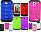 LG Optimus L70 HYBRID IMPACT Dazzling Diamond Case Phone Cover + Screen Guard