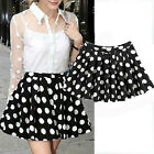 New Fashion Europe Women's Polka Dot A-line Wave Pattern Pleated Short Skirt