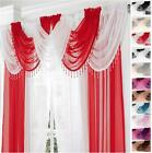 GEMMA BEADED ROUND VOILE CURTAIN & SWAG 9 PIECE SET Drape Pelmet Valance