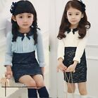 Prom Girl Toddler False Two Lapel Lace Floral Princess Skirt Kids Formal Dresses