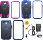 Samsung Galaxy S3 S III - Phone Cover Hybrid T-STAND Case + HOME CHARGER