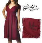 Steady Clothing ~ Retro Burgandy Swooping Sparrow Lush Dress ~ Rockabilly 50s