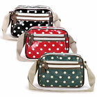 Polka Dots Designer Oilcloth Small Messenger Cross Body Satchel Shoulder Bag
