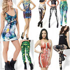 Women Stretch Skinny Leggings Galaxy Space Tie Dye Tights Pans/Vest Top Dresses