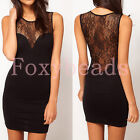 Women Sexy Black Sleeveless Lace Evening Party Clubbing Mini Dress Clothing HOT