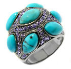 NIB Gastineau Glamour Turquoise & Tanzanite-Color CZ Sterling Silver Dome Ring