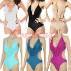 Women One Piece Pad V-neck Fringe Tassel Monokini Bikini Top Swimsuit Swimwear