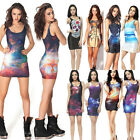 Sexy Women Multi-Print Package Hip Sleeveless Slim Long Vest Mini Dress