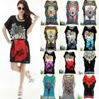 NEW WOMENS SHORT SLEEVE TUNIC BATWING DRESS TOP PLUS SIZE BOHO PRINT STYLISH HOT