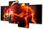 Musical Skeleton Fire guitar MULTI CANVAS WALL ART Picture Print VA