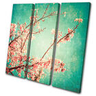Floral Vintage Cherry Blossoms  TREBLE CANVAS WALL ART Picture Print VA