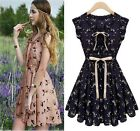 Womens Summer Skater Chiffon Casual Pleated Mini Evening Cocktail Party Dress -S