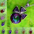 Gift Of Love Citrine Pink Topaz & Ruby Spinel Gemstone Silver Pendant Necklace