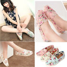 NEW WOMEN LADY SLIP ON FlORAL CASUAL LEISURE CANVAS FLATHEEL LOAFER PUMPS SHOES