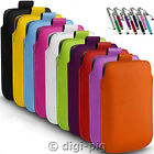 COLOUR (PU) LEATHER PULL TAB POUCH & STYLUS PEN FOR APPLE IPHONE 4S MOBILES