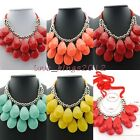Fashion Design Womens Candy Color Acrylic Droplet Chunky Statement Bib Necklace