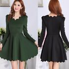 Scalloped Neckline Long Sleeve Cinched Waist Women's Pleated Mini Dress Solid