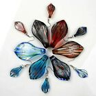1 Set Foil Lampwork Glass Leaf Pendant Hook Earring fit Necklace Charm Gift