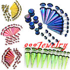20pc Acrylic Taper Plug Barbell Fake Cheater Earring Stud 4-10mm Set Kit