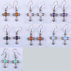 Tigereye/Rose Quartz/Amethyst/Sandstone/Opal/Turquoise Cross Earrings T350-356