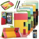 Magnetic Hybrid PU Leather Wallet Card Case Flip Cover Stand fr HTC ONE M7 Strap