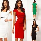Womens Pencil Vintage Pinup Bodycon Square Neck Fitted Party Sheath Dress D239