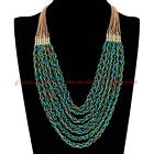 Fashion Gold Chain Handmade Resin Seed Beads Collar Pendant Bib Long Necklace