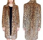 New Womens Faux Fur Furry Leopard Print Warm Long Trench Jacket Coats Plus Size