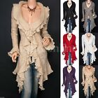 Retro Flounce Ruffles Knit Collared Asym Hem Cardigan Long Sweater Jacket