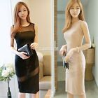 Womens midi dress bodycon party evening club black/Apricot mesh Bandage Maxi new