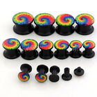 2x Gauge Acrylic Rainbow Spiral Snail Ear Tunnels Screw Plugs Stretcher Expander