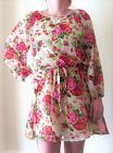 LADIES PINK OR RED FLORAL LONG SLEEVED & FULLY LINED CASUAL DRESS WITH BELT 8-16