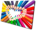 For Kids Room Coloured Pencils SINGLE CANVAS WALL ART Picture Print VA