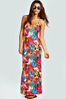 Boohoo Womens Ladies Mila All Over Tropical Print Cross Back Strappy Maxi Dress