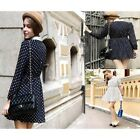Hot Casual Modern OL 3Color Chiffon Cocktail Long Sleeve Slim Lapel Dot Dress-CB