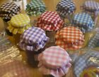 jam jar lid covers fabric  gingham orange red pink lilac green yellow blue  x 12
