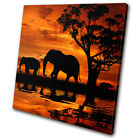 Animals Elephant African Sunset SINGLE CANVAS WALL ART Picture Print VA