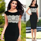 Womens Floral Lace Contrast Evening Wedding Pencil Midi Bodycon Dresses