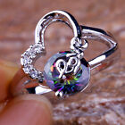 Love Style Rainbow & White Topaz Gemstones Silver Rings Size 5 6 7 8 9 10 11 12