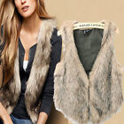 Autumn Winter Fashion Faux Fur Slim Vest Cardigan Waistcoat Coats Tops ODUSSL#