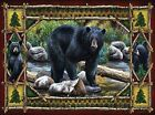 RUSTIC BLACK BEAR CABIN PLACEMATS FABRIC TOP / RUBBER BACKED