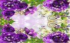 PURPLE BUTTERFLY ROSES FLORAL #1  PLACEMATS FABRIC TOP / RUBBER BACKED