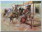 Western In Without Knocking by Charles Marion Russell Repro Stretched Art Print