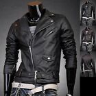 Jeansian Mens Designer PU Faux Leather Jackets Coats Shirts Top Black/Brown 8927