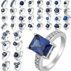 Mixed Style Fashion Blue Sapphire 18K White Gold Plated U Choose Ring Sz 6