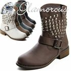 Women's Low Calf Winter Boots Ankle Boots Brown Leather Studs Look UK 3-8 New