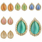 Wholesale Crystal Rhinestone Drop Cat Eye Gems Gold Plated Ear Stud Earrings