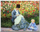 Camille and Child in the Garden by Claude Monet Stretched Canvas Art Repro Print
