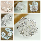 Women's Silver Plated Leaf Rose Flowers Sweethearts Above Knuckle Finger Ring